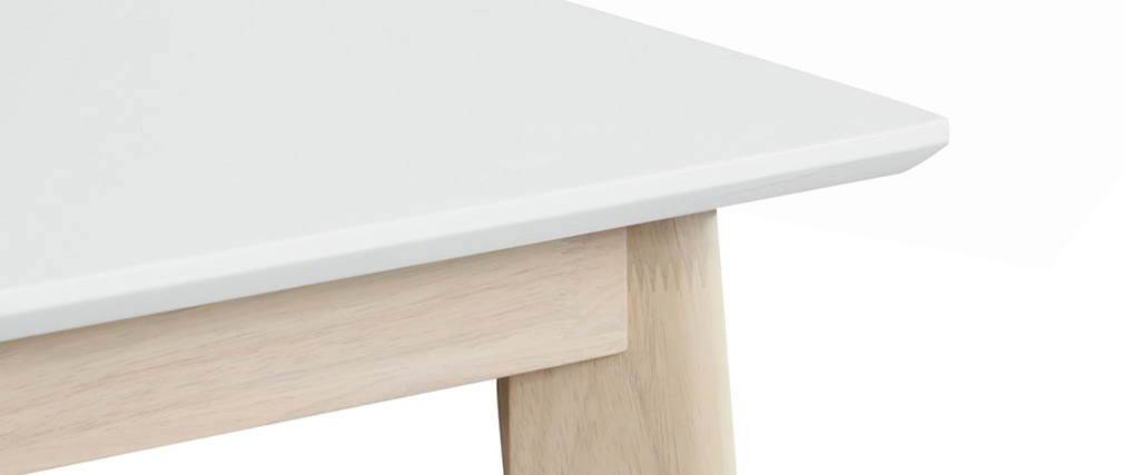 Stehtisch quadratisch Weiß und helles Holz LEENA