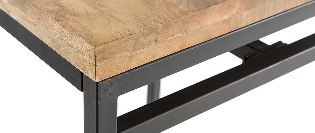 Stehtisch rechteckig aus Mangoholz und schwarzem Metall YPSTER