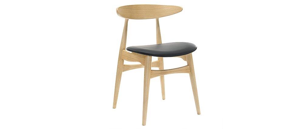 Stuhl Holz h und PU Schwarz skandinavisches / japanisches Design WALFORD