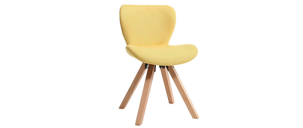 Stuhl skandinavisch Stoff Gelb Beine helles Holz ANYA