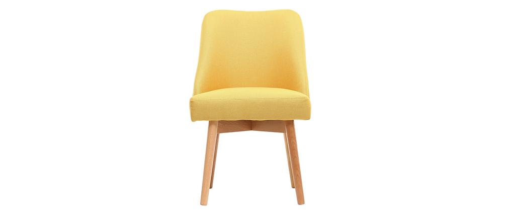 Stuhl skandinavisch Stoff Gelb Beine Holz hell LIV