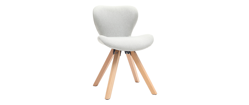 Stuhl skandinavisch Stoff Grau Beine helles Holz ANYA