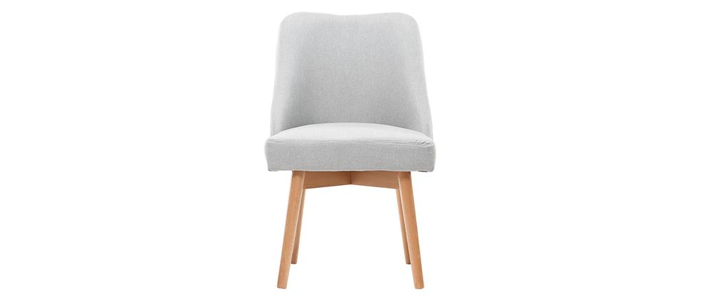 Stuhl skandinavisch Stoff Grau Beine Holz hell LIV