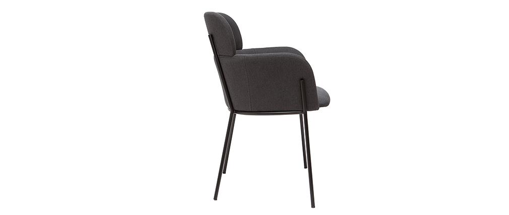 Stuhl TULUM grauer Bezug und schwarzes Metall