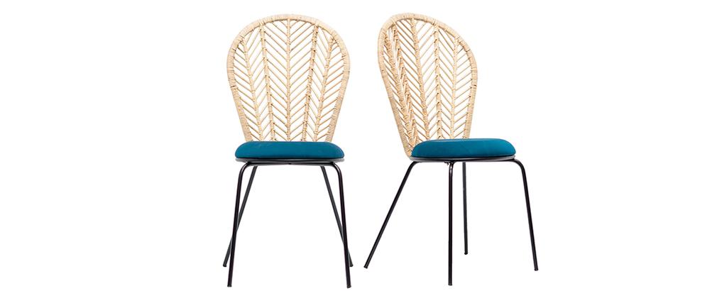 Stühle aus Rattan und petrolblauem Stoff (2er-Satz) PEACOCK