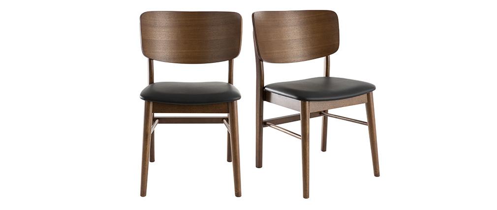 Stühle in Nussbaumholz in schwarz ( 2er-Set) SHELDON