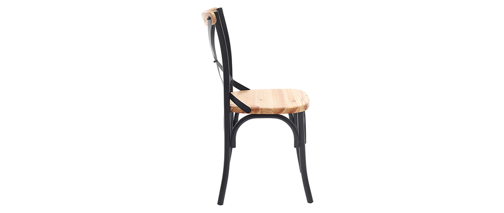 Stühle Industrie-Stil schwarzes Metall und Holz (2er-Set) JAKE