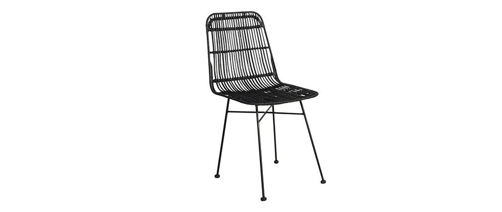 Stühle Rattan Natur schwarz lackiert 2 Stk. MALACCA