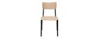 Stühle Schulstuhl-Look stapelbar Metall Schwarz und helles Holz (2er-Set) SCHOOL
