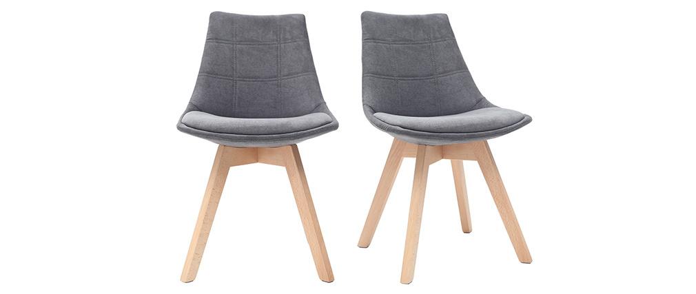 Stühle skandinavisch aus dunkelgrauem Stoff und Holz (2er-Set) MATILDE