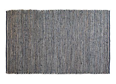 Teppich Leder Schwarz und Jute 170 x 240 cm ALABAMA