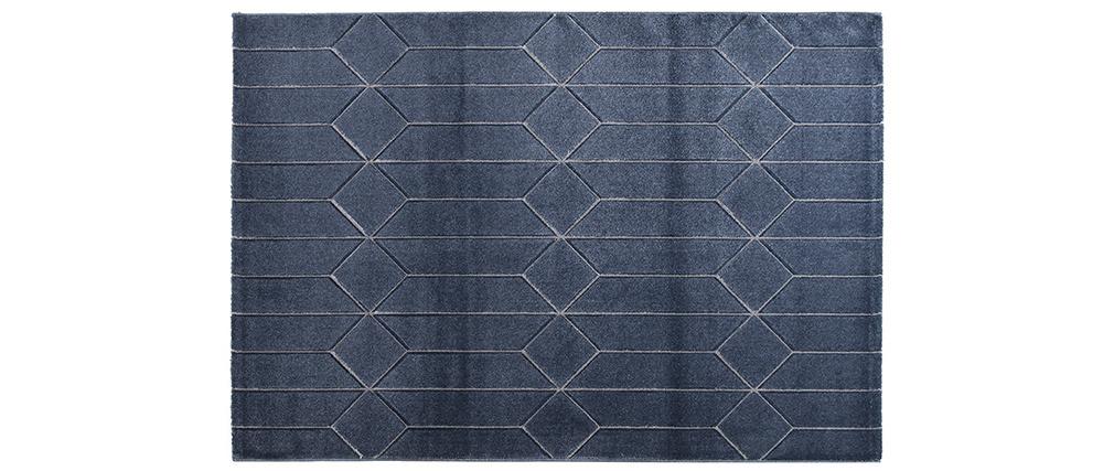 Teppich modern blau mit grafischen Motiven ARROWS