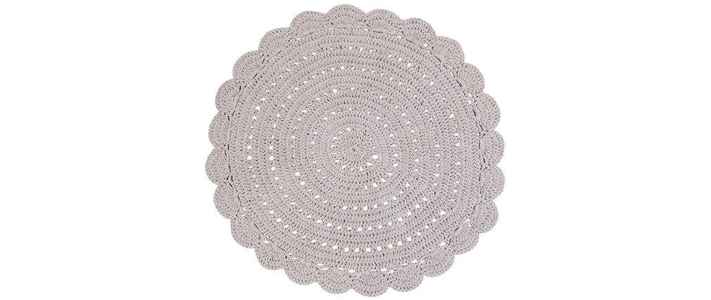 Teppich rund und gehäkelt hellgrau 120cm ALMA