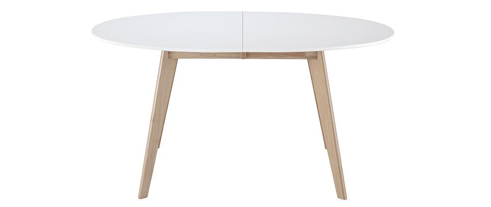 Tisch ausziehbar oval Weiß und helles Holz L150-200 LEENA