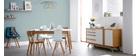 Tisch ausziehbar skandinavisch Weiß und Holz Länge 140-180 cm MEENA