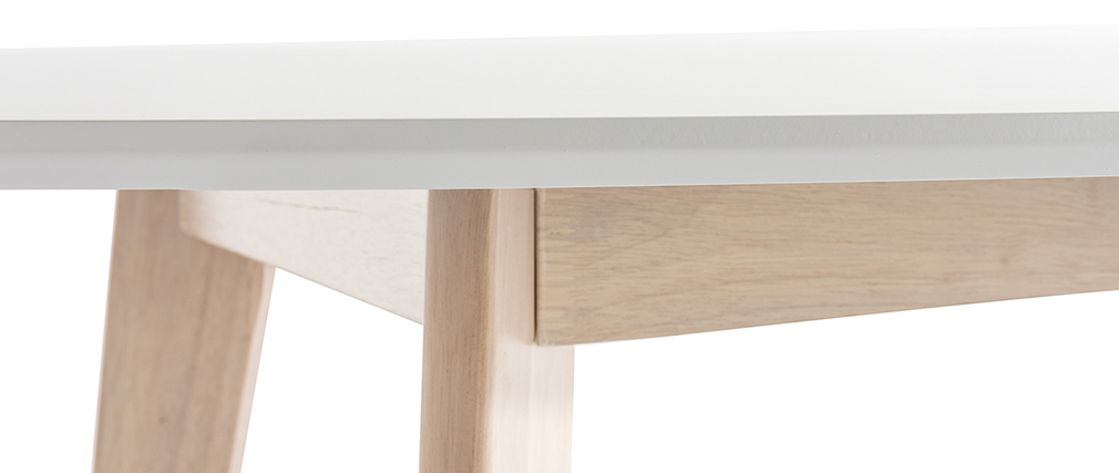Tisch oval 150 cm Weiß und helles Holz LEENA