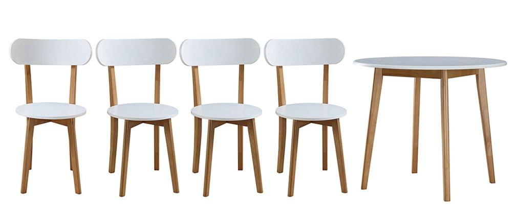 Tisch und 4 Gartenstühle Weiß und Holz LEENA