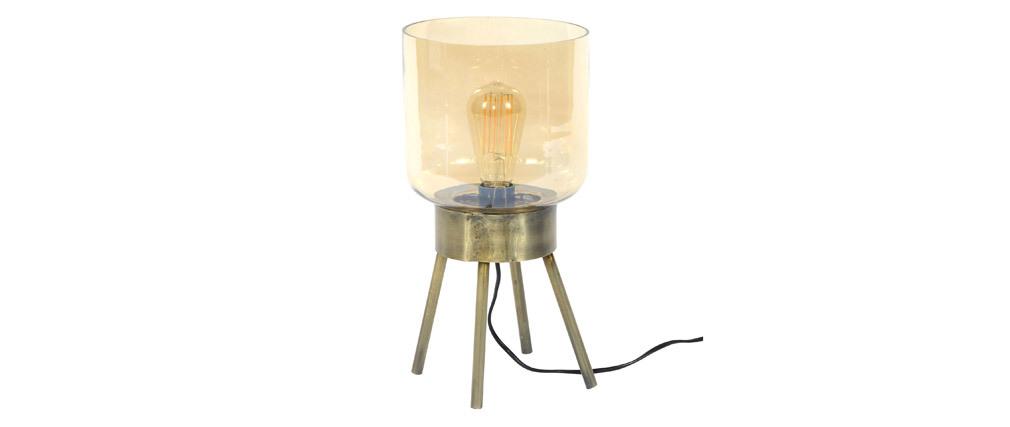 Tischlampe aus bronzefarbenem Metall und bernsteinfarbenem Glas AMBER
