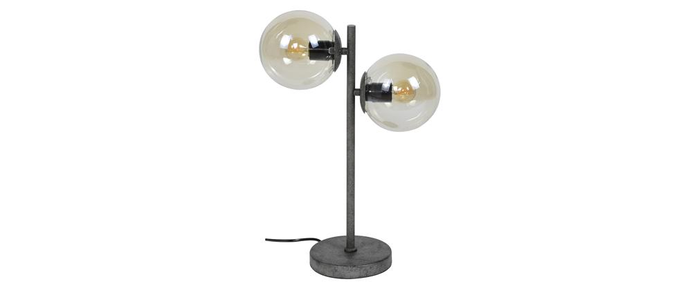Tischlampe aus Glas und Metall Vintage GLOB