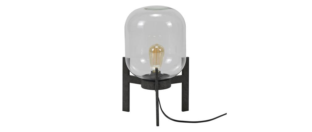 Tischlampe aus Metall Antiksilber Finish und Glaskugel HALCYLON
