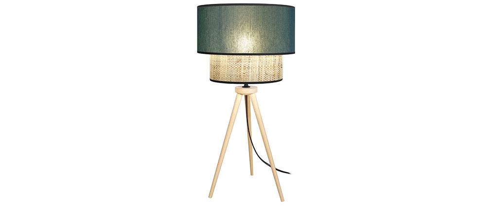 Tischlampe Bimaterial Jute und graublaues Gewebe D40 cm CHILL