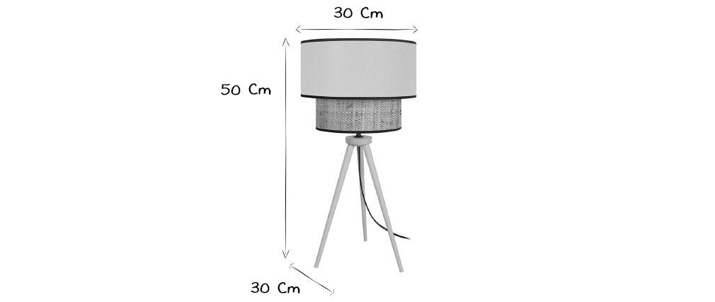 Tischlampe Bimaterial Jute und senfgelb Gewebe CHILL