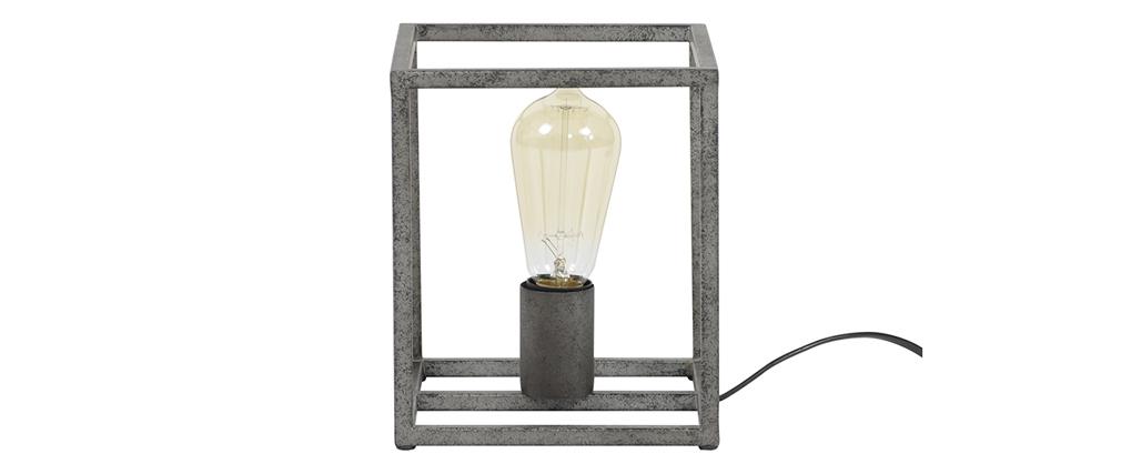 Tischlampe industriell aus Metall Antiksilber Finish ARCHI