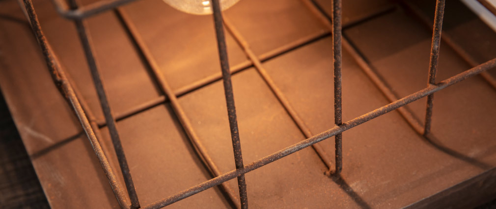 Tischlampe industriell aus Metall Rosteffekt Braun RUST