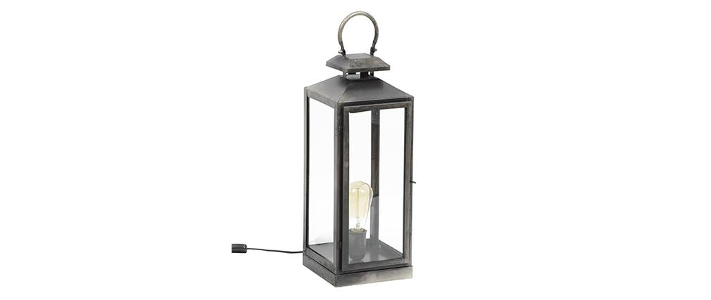 Tischlampe Laternenform altsilberfarben LANTERNA