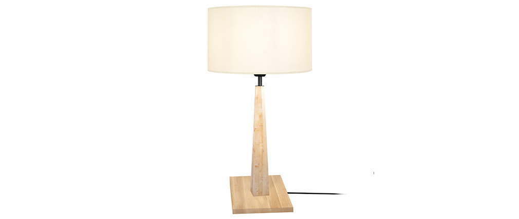 Tischlampe mit Holzfüßen ecru NIDRA