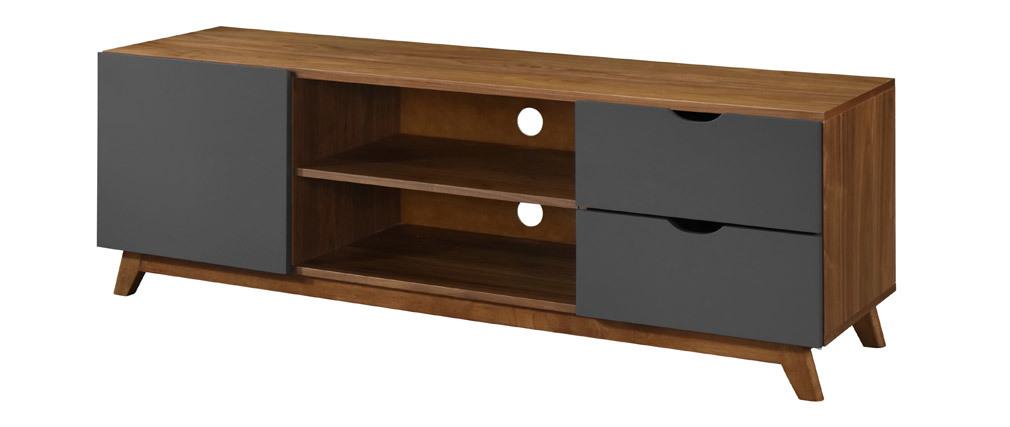 TV-Möbel Anthrazitgrau und Nussbaumfurnier NEELA