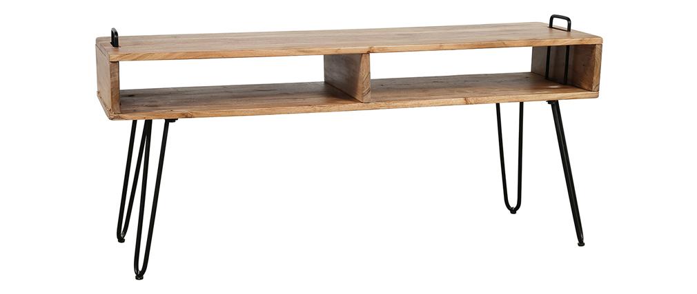 TV-Möbel aus Akazienholz und schwarzem Metall ALVIN