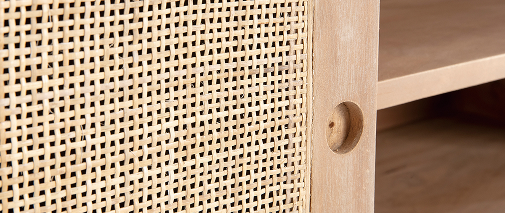 Tv-Möbel aus Mangoholz und Rohrgeflecht ACANGE