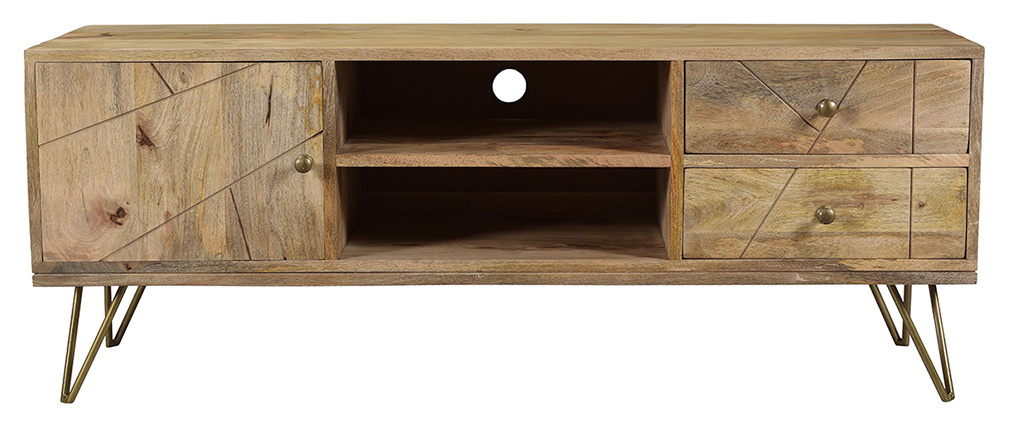 TV-Möbel graviert aus Mangoholz und Metall LINIUM