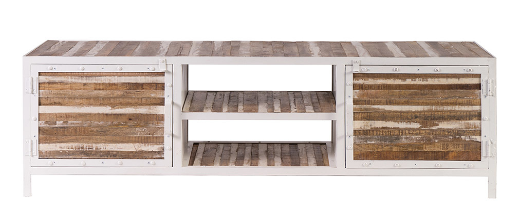 Metall holz möbel  TV-Möbel Holz und Metall Weiß 150 cm ROCHELLE - Miliboo