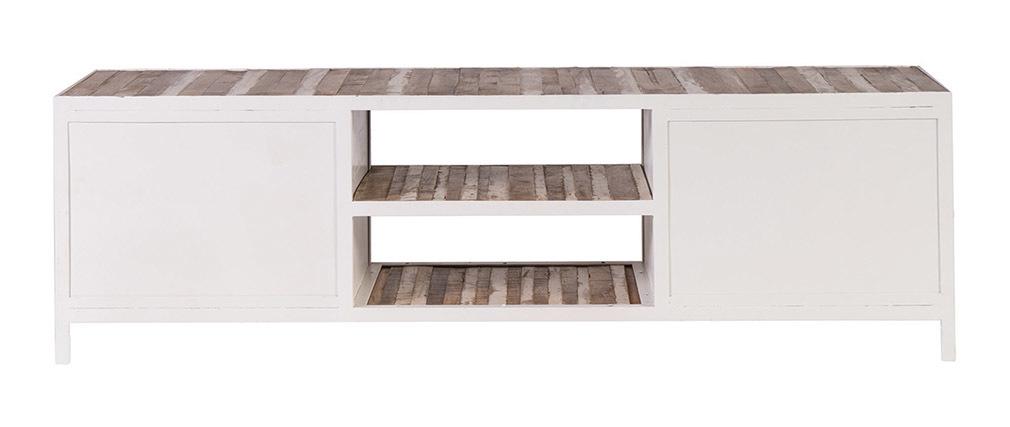 Tv möbel holz weiß  TV-Möbel Holz und Metall Weiß 150 cm ROCHELLE - Miliboo