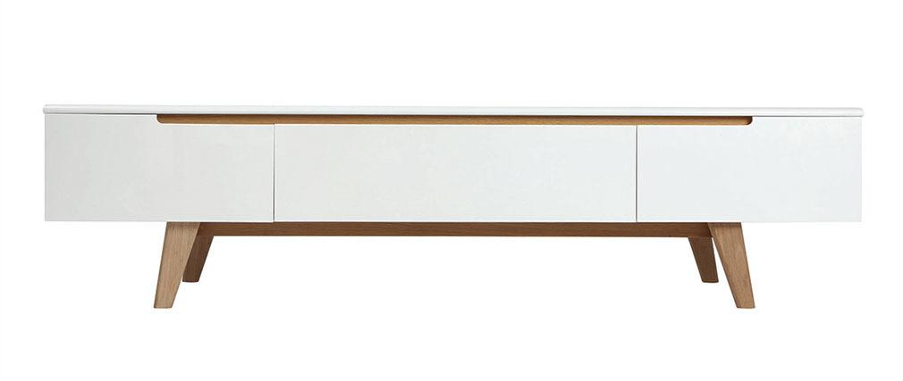 TV-Möbel Skandinavienstil Weiß glänzend und Esche 180 cm MELKA