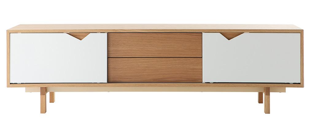 TV-Möbel skandinavisch anpassbar Weiß und Eiche ACOUSTIC