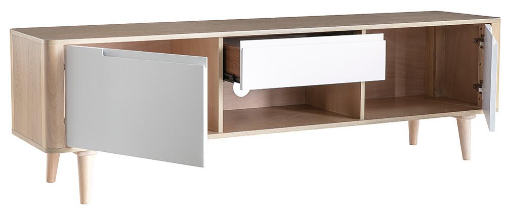 TV-Möbel skandinavisch Esche und Weiß GOTLAND