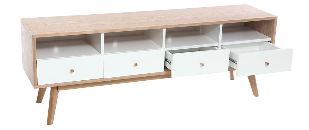 TV-Möbel skandinavisch Holz Weiß HELIA