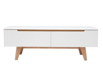 TV-Möbel skandinavisch Weiß glänzend und Holz MELKA ? Miliboo & Stéphane  Plaza