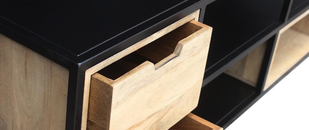 TV Möbelstück JAIPUR aus massivem Mangoholz und schwarzem Metall - Miliboo & Stephane Plaza