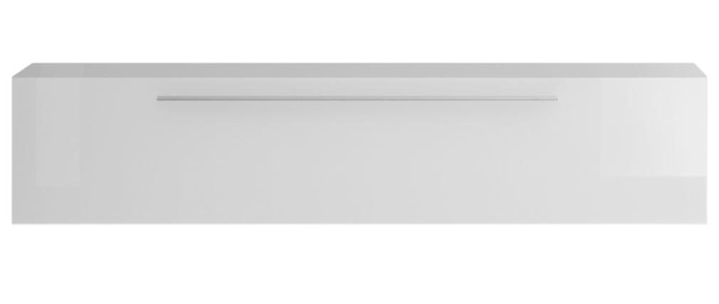 TV-Wandelement horizontal glänzend weiß lackiert mit Leiste ETERNEL