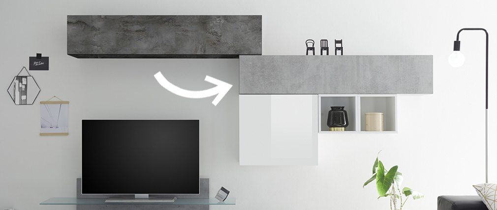 TV-Wandelement horizontal Oberfläche Betonoptik ETERNEL