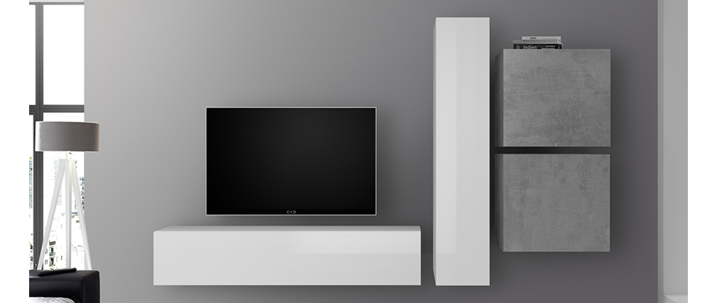 TV-Wandelement vertikal weiß lackiert ETERNEL