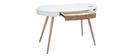 Vernetzter Multimedia-Schreibtisch - Glas Weiß und helles Holz HANDY