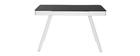 Vernetzter Multimedia-Schreibtisch - schwarzes Glas und weißes Metall CLEVER