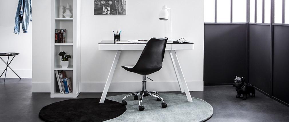 Vernetzter Multimedia-Schreibtisch - weißes Glas und helles Holz CLEVER