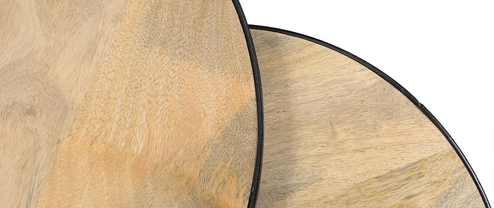 Verschachtelungs-Couchtische aus massivem Mangoholz und Metall BARREL