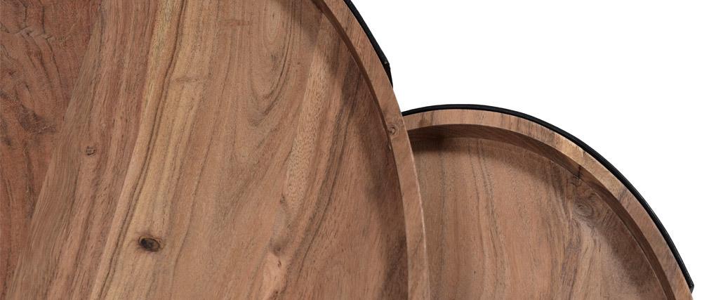 Verschachtelungs-Couchtische aus Metall und massivem Akazienholz ELAVO